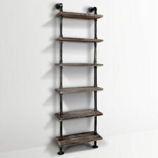 6 Level Industrial DIY Pipe Shelf Bookshelf Rustic Wooden Tier Ladder Home