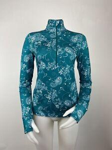 Athleta Sz XS Green & White Paisley 1/2 Zip Pullover Shirt Thumbholes Activewear