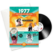 1977 40th Birthday Anniversary Gift Card Retro CD Book Greetings Gifts Cards