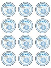 "12x2"" Personalised Baby Boy Shower/ New Baby PRE-CUT RICE PAPER cupcake Toppers"