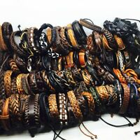 Wholesale 100pcs/Lot Mix Handmade Leather Black Brown Cuff Jewelry Bracelets