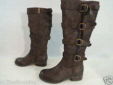 Two Lips Jaguar Leather Tall Knee High Strap Buckle Boots Size 5M DARK BROWN