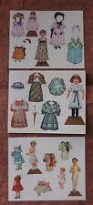 merrimack antique replica old fashioned paper doll postcards -lot 3