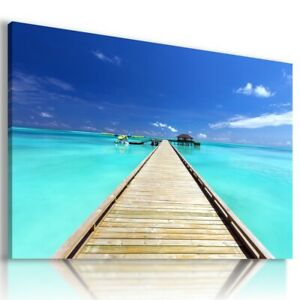 BEACH SEA PIER PARADISE View Canvas Wall Art Picture  L300 UNFRAMED-ROLLED