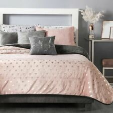 Pink & silver polka dot Blanket Sherpa warm & cozy Full Size Xl Comforter 1Pc