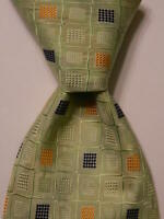 GENE MEYER Mens 100% Silk Necktie ITALY Luxury Geometric Green/Blue/Orange EUC