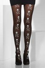 Nero Opaque Tights Bianco Teschio E Ossa Incrociate Stampa Halloween costume serata fuori U
