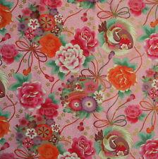[PRETAGLIATO] 48x55cm Rosa crane giapponese floreale tessuto di cotone-pc632