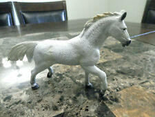 """Terra By Battat White Toy Horse Poised in Trotting Position 6"""" Long Hard"""
