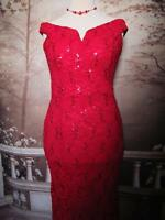 Quiz Dress/Ballgown Size 14 Bardot Sequin Stretch Lace Long Evening Red Fishtail