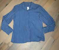 Women's 12 Austin Reed Blue Collared Striped Shirt Top Blouse Tunic Button Up