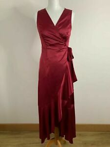 SHEIN Surplice Knot Side Ruffle Trim Sleeveless Maxi Wrap Satin Dress Size M 10