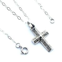 Ladies/womens, 9ct/9carat white gold chain and cross set with diamonds