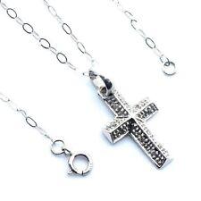 Mujer, 9 ct/9 ct oro blanco cadena y cruz set con diamantes