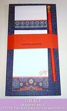 OILILY JOTTER LIST PAD & STICKY NOTES with Pencil NAVY CORAL RED Magnets on Back