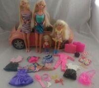 VINTAGE BARBIE DOLLS CLOTHES ACCESSORIES & CAR BUNDLE