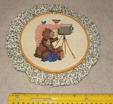 """Counted Cross Stitch Bear with Camera Graphic in a 10""""  Embroidery Hoop"""