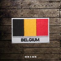 Belgium National Flag With Name Embroidered Iron On Sew On Patch Badge
