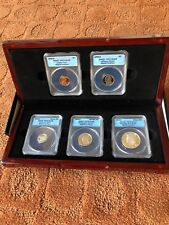 1992-S Silver Beautiful Matched ANACS PR70 DCAM 5 Coin Set in Rosewood Box RARE