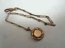 Antique  Gold Filled  BUTTON Fob & Gold Filled Oval Link Pocket Watch Chain