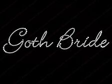 "Diamonte Hotfix Wedding Transfers Rhinestones iron On Motif "" Goth Bride "" -Sty1"