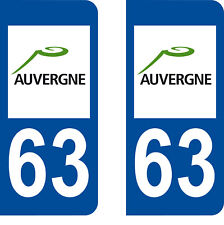 Département 63 sticker 2 autocollants style immatriculation AUTO PLAQUE