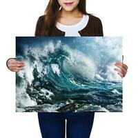 A2   Big Ocean Wave Stormy Sea Surfing Size A2 Poster Print Photo Art Gift #8311