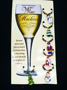 Boston Warehouse Wine Glass Markers/Charms Christmas Theme Total of 6 NEW!