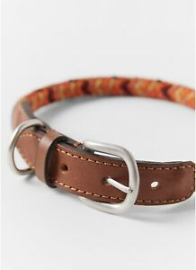 NWT Zara Pet Orange leather trimp collar Size M