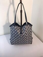 HUNTING WORLD NAVY BLUE LEATHER AND FABRIC TOTE BAG PURSE