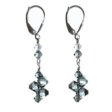 Earrings made w/ Swarovski elements.Top Drilled Black Diamond Colored, Leverback