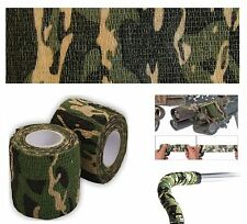 5CM X 4.5 METRE WOODLAND CAMO WRAP RIFLE/GUN HUNTING CAMOUFLAGE STEALTH TAPE
