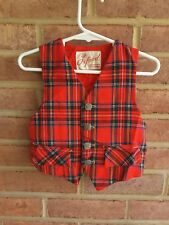 Vintage Baby/ Toddler Vest Oxford Quality Tailored Tartan Plaid Holiday 2 years