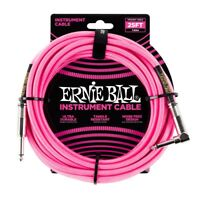 Ernie Ball Braided Guitar Instrument Cable Straight Right-Angle Neon Pink 25ft