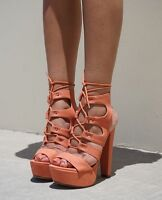 SALMON CORAL PLATFORM STRAPPY LACE UP HIGH HEELS STILETTO FASHION THICK NEW