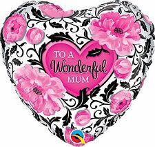 "Qualatex 41830 18"" Heart Wonderful Mum Floral Damask Foil Balloon 01ct"