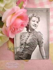 Vintage 40s Knitting Pattern Lady's Beautifully Stitched Cardigan FREE UK P&P