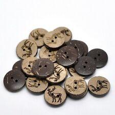"Pkg of 10 Deer Elk 2-hole Coconut Shell Buttons 11/16"" (18mm) Craft (1995)"