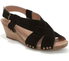 Adam Tucker Me Too Shoes Black Suede Wedge Tarin Sandals Size 7.5M