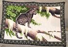 "Vintage Decorative Wall Tapestry Made In Turkey Leopard Jaguar Cat Tree 59""x 38"