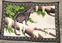 "Vintage Decorative Wall Tapestry Made In Turkey Leopard Jaguar Cat Tree 59""x 38"