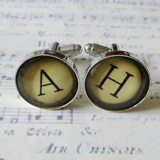 PAIR GLASS VINTAGE TYPEWRITER KEY ANTIQUE BRONZE CUFFLINKS, YOU CHOOSE LETTERS