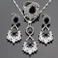 Cool White Topaz & Black stone CZ 925 Silver Necklace Pendant Earrings Ring Set