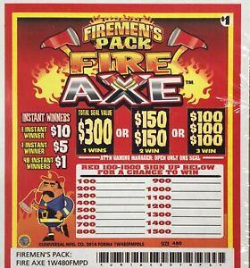 """Firemen Series"" 1 Window Pull Tab  480 Tickets  Free Shipping USA"