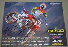 2018 RJ Hampshire signed Geico Honda CRF250R Supercross Motocross postcard