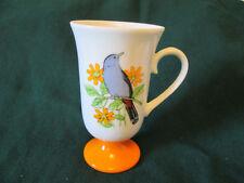 Vintage Tundra Japan Tall Coffee Mug with Birds  Pedestal Cup Orange