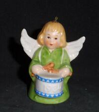 Vintage 1984 Goebel Angel with Drum Bell Ornament Blond Hair Green Dress Tmk-6