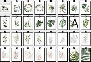 Botanical Leaf Fern Plant Wall Art Prints Tropical Palm Monstera Swiss Leaves