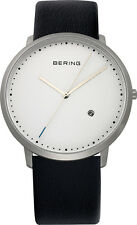 Bering Time - Classic - Men's Black Leather Watch with White Dial 11139-404