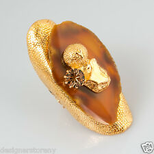 Yves Saint Laurent YSL Chyc gemstone agate and crystal ring size 5 1/2